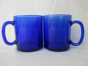 "Two Vintage Arcoroc Saphir Cobalt Blue 3 5/8"" Mug Cup Made in France"