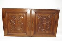 French Antique Pair Carved Wood Cupboard Door Panel Gothic Chimera Griffins