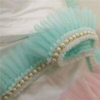 Ruffle Beaded Lace Trim Pleated Ribbon Fabric Doll Skirt Edging Hem 2.36'' Width