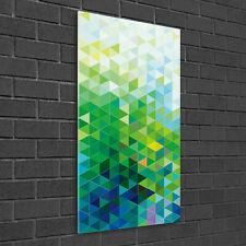 Wand-Bild Kunstdruck aus Hart-Glas Hochformat 50x100 Abstrakte Dreiecke