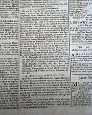 Sir Guy Carleton Proclamation re. Americans & British Relations 1783 Newspaper