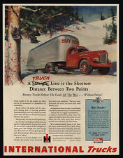 1945 INTERNATIONAL Trucks - WWII - Buy War Bonds - Harvester - Art - VINTAGE AD