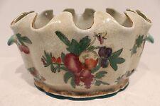 Beautiful Scalloped Rim Oval Porcelain Flower Pot with Fruit Design