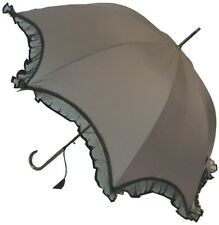 Boutique Scalloped With Lace Grey Walking Length Stick Umbrella Wedding Bride