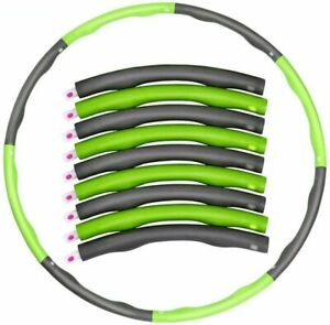 Green /Grey 1KG Weighted Collapsible Hula Hoop Padded Abs Exercise Gym Workout
