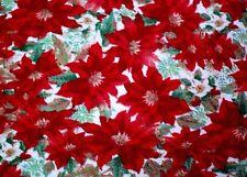 "BTY*FESTIVE CHRISTMAS POINSETTA FLOWERS & LEAVES FLEECE FABRIC BLANKET 60X36"""