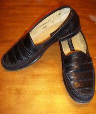 Mezlan Lizard Skin Dress  Loafer Shoes Black ELDA VGC Good 9.5 M Free Shipping