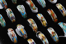 Fashion Rings Lots 20pcs Color Portrait Religious Mens Stainless Steel Rings