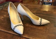 Vintage 1950's Andrew Geller Winter White Pointed Toe High Heel Shoes 8 A