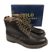 Polo Ralph Lauren Mens Boots Brown Leather Army Combat Leather