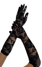 1 Paar Ellenbogen lange Spitzen Damenhandschuhe Handschuhe mit Rosenmuster