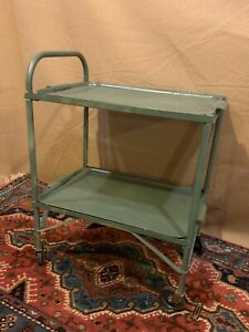 Original Retro Vintage 2-Tier Metal Army Green Rolling Cart w/removable trays