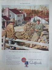 1945 Gulf Gulfpride Motor Oil Men Fence Pipe House Original Print Ad