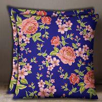 Housse De Coussin Imprimé Floral En Popeline De Coton Taie D'Oreiller Carrée