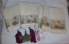 Lot of 5 Croscill Iris & Bulbs Green Mulberry Floral Towels 3 hand 2 Bath Tassel