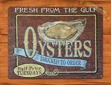 "TIN SIGN ""Oyster Brick""  Louisiana Seafood Kitchen Rustic Wall Decor"