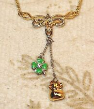 Melanie Jewelry Collection Crystal Shamrock Pot Gold Charm Pendant Necklace