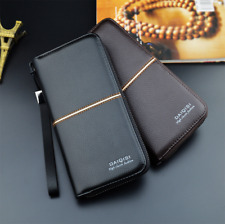 Men's Bifold PU Leather Wallet Long Zip Clutch Purse Credit Card Holder Handbag