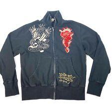 Don ED HARDY Mens Full Zip Black Jacket Dragon Eagle Tiger Tattoo Flash Sz L