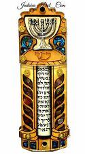 Wood Mezuzah With Scroll Semi-Precious Stones Menorah Israel Judaica Door Mezuza