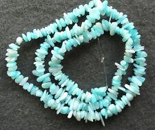 "4-7mm x 17"" Strand Aqua Blue Amazonite Semi Precious Gemstone Chips Gravel Beads"