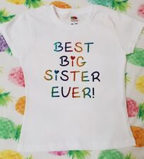Best Big Sister Ever Girls Top T-shirt Outfit Gender Reveal party GIFT Glitter