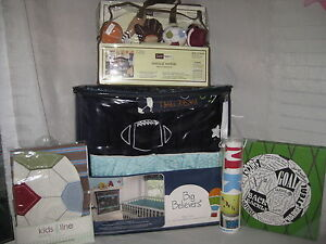 NEW BIG BELIEVERS ATHLETIC DEPT SPORTS 9 PC CRIB BEDDING SET MOBILE WALL ART