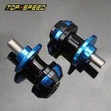 10mm CNC Blue Swingarm Mounting Holes Spool Slider Paddock For Yamaha Kawasaki