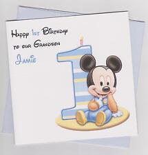 Personalised Handmade Baby Mickey Mouse 1st Birthday Card - Son, Grandson etc