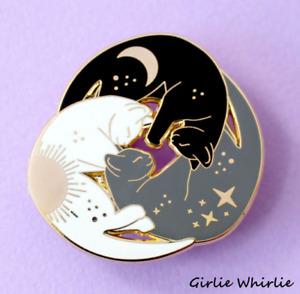 Cat Pin Badge Brooch Gift White Black Grey Trio Enamel Jewellery Cat Lover Lady