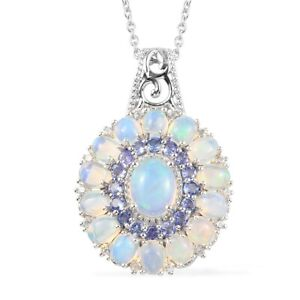 """Natural Opal & Multi Gemstone Pendant Necklace 20"""" Sterling Silver 5.50 ctw"""