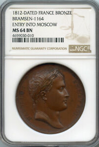 """FRANCE 1812 NAPOLEON I MEDAL """"ENTRY INTO MOSCOW """" RARE NGC-MS-64."""