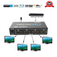 1 In 4 Out Verteiler HDMI Splitter 1x4 1080p Full HD 4 Häfen Hub Power Adapter