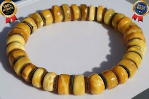 ANTIQUE BALTIC NATURAL AMBER WHITE YELLOW COLOR BRACELET 12 G BERNSTEIN