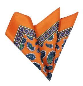 Loch Ness Black Orange $75 Retail New Lord R Colton Masterworks Pocket Square