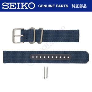Seiko Watch Strap f/ 5 SNK807 SNK815 7S26-02J0 18mm Dark Blue Nylon Fabric Band