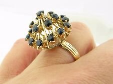 18k Yellow Gold Vintage Blue Spinel Cluster High Profile Dome Estate Ring Sz 7.5