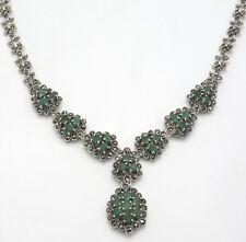Smaragde & Markasiten Collier   925  Sterling Silber