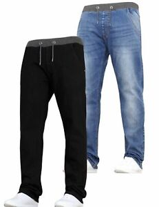 Kids Boys Stretch Jeans Multipack 2 Pack Pull On Elasticated Waist Pant Trousers