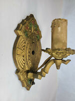 Antique Cast Iron Wall Sconce Victorian Art Deco Gothic Vintage Salvage L2