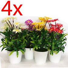 SET OF 4 ARTIFICIAL FLOWER POT 23CM DECORATION HOME PLANT OFFICE BONSAI TREE NEW