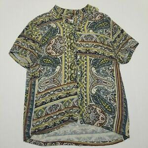 Zara Multi Color Short Sleeve Button Down - Paisley - Large Regular Fit