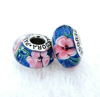 2 PANDORA Silver 925 ALE Murano Charm Fantasy Pink Flowers Blue Beads #256