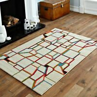 MODERN LARGE, SMALL CREAM MULTI COLOURED CUBE BEST QUALITY SOFT RUG FOR SALE