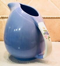 "HALL Cadet Blue ROSE PARADE Pert Style PITCHER 1259 - 7 1/2""  Vintage 1940s"