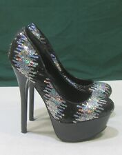 "new Black/Silver Sequins 6""High Heel 2""Platform Round Toe Sexy Shoes Size  6"