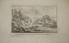 Stampa antica Tevere Porta Popolo Roma Paolo Anesi 1766 old print kupferstich