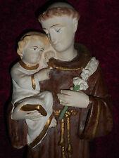 ANCIENNE STATUE RELIGIEUSE: Saint ANTOINE & JESUS / PLATRE POLYCHROME /N°1