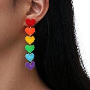 1 Pair Rainbow Earrings Acrylic Tassel Love Heart Earrings Lady Fashion Jewelry