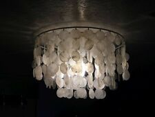 "HUGE Capiz Shell Chandelier Flush Mount OR Hanging, Kenroy Home SHELLEY 20"" Dia."